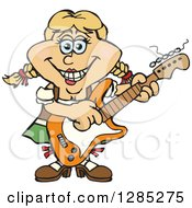 Clipart Of A Cartoon Happy German Oktoberfest Woman Playing An Electric Guitar Royalty Free Vector Illustration