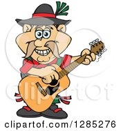 Clipart Of A Cartoon Happy German Oktoberfest Man Playing An Acoustic Guitar Royalty Free Vector Illustration