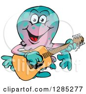 Clipart Of A Cartoon Happy Octopus Playing An Acoustic Guitar Royalty Free Vector Illustration by Dennis Holmes Designs
