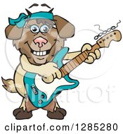 Clipart Of A Cartoon Happy Nanny Goat Playing An Electric Guitar Royalty Free Vector Illustration by Dennis Holmes Designs