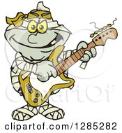 Cartoon Mummy Playing An Electric Guitar
