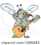 Clipart Of A Cartoon Happy Mosquito Playing An Acoustic Guitar Royalty Free Vector Illustration by Dennis Holmes Designs