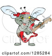 Clipart Of A Cartoon Happy Mosquito Playing An Electric Guitar Royalty Free Vector Illustration by Dennis Holmes Designs