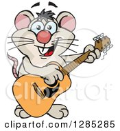 Clipart Of A Cartoon Happy Mouse Playing An Acoustic Guitar Royalty Free Vector Illustration