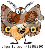 Clipart Of A Cartoon Happy Moth Playing An Acoustic Guitar Royalty Free Vector Illustration