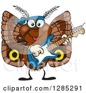 Clipart Of A Cartoon Happy Moth Playing An Electric Guitar Royalty Free Vector Illustration