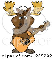 Cartoon Happy Moose Playing An Acoustic Guitar