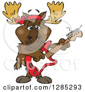 Cartoon Happy Moose Playing An Electric Guitar