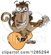 Clipart Of A Cartoon Happy Monkey Playing An Acoustic Guitar Royalty Free Vector Illustration by Dennis Holmes Designs