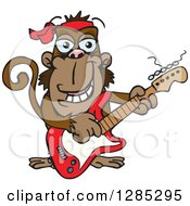 Clipart Of A Cartoon Happy Monkey Playing An Electric Guitar Royalty Free Vector Illustration by Dennis Holmes Designs
