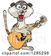 Clipart Of A Cartoon Happy Meerkat Playing An Acoustic Guitar Royalty Free Vector Illustration by Dennis Holmes Designs