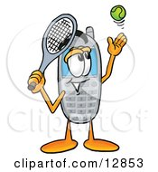 Wireless Cellular Telephone Mascot Cartoon Character Preparing To Hit A Tennis Ball