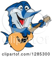 Clipart Of A Cartoon Happy Marlin Fish Playing An Acoustic Guitar Royalty Free Vector Illustration