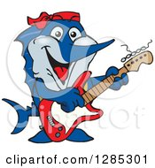 Clipart Of A Cartoon Happy Marlin Fish Playing An Electric Guitar Royalty Free Vector Illustration
