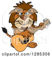 Cartoon Happy Male Lion Playing An Acoustic Guitar