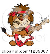 Cartoon Happy Male Lion Playing An Electric Guitar