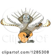 Clipart Of A Cartoon Happy Lyrebird Playing An Acoustic Guitar Royalty Free Vector Illustration by Dennis Holmes Designs