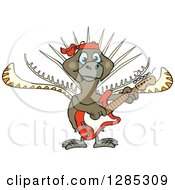 Clipart Of A Cartoon Happy Lyrebird Playing An Electric Guitar Royalty Free Vector Illustration by Dennis Holmes Designs