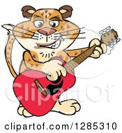 Clipart Of A Cartoon Happy Leopard Playing An Acoustic Guitar Royalty Free Vector Illustration