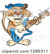 Clipart Of A Cartoon Happy Leopard Playing An Electric Guitar Royalty Free Vector Illustration