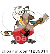 Clipart Of A Cartoon Happy Kookaburra Playing An Acoustic Guitar Royalty Free Vector Illustration by Dennis Holmes Designs