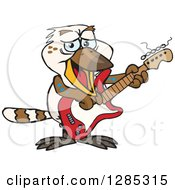 Clipart Of A Cartoon Happy Kookaburra Playing An Electric Guitar Royalty Free Vector Illustration by Dennis Holmes Designs