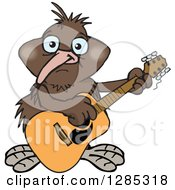 Clipart Of A Cartoon Happy Kiwi Bird Playing An Acoustic Guitar Royalty Free Vector Illustration
