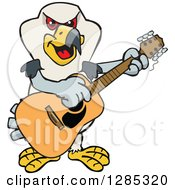 Clipart Of A Cartoon Happy Kite Bird Playing An Acoustic Guitar Royalty Free Vector Illustration by Dennis Holmes Designs