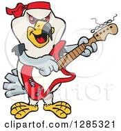 Clipart Of A Cartoon Happy Kite Bird Playing An Electric Guitar Royalty Free Vector Illustration by Dennis Holmes Designs