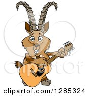 Clipart Of A Cartoon Happy Ibex Goat Playing An Acoustic Guitar Royalty Free Vector Illustration