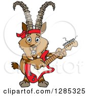 Clipart Of A Cartoon Happy Ibex Goat Playing An Electric Guitar Royalty Free Vector Illustration by Dennis Holmes Designs
