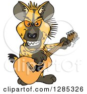 Clipart Of A Cartoon Hyena Playing An Acoustic Guitar Royalty Free Vector Illustration