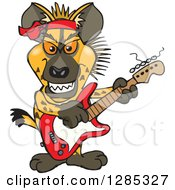 Clipart Of A Cartoon Hyena Playing An Electric Guitar Royalty Free Vector Illustration