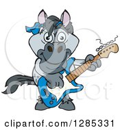 Clipart Of A Cartoon Happy Gray Horse Playing An Electric Guitar Royalty Free Vector Illustration by Dennis Holmes Designs