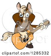 Clipart Of A Cartoon Happy Brown Horse Playing An Acoustic Guitar Royalty Free Vector Illustration by Dennis Holmes Designs
