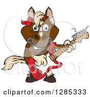 Clipart Of A Cartoon Happy Brown Horse Playing An Electric Guitar Royalty Free Vector Illustration by Dennis Holmes Designs