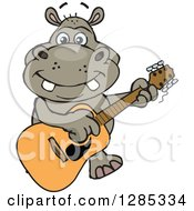 Clipart Of A Cartoon Happy Hippo Playing An Acoustic Guitar Royalty Free Vector Illustration by Dennis Holmes Designs