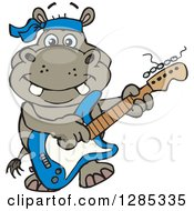 Clipart Of A Cartoon Happy Hippo Playing An Electric Guitar Royalty Free Vector Illustration by Dennis Holmes Designs