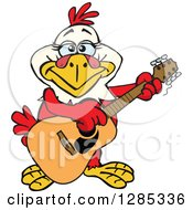 Clipart Of A Cartoon Happy Hen Playing An Acoustic Guitar Royalty Free Vector Illustration by Dennis Holmes Designs