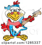 Clipart Of A Cartoon Happy Hen Playing An Electric Guitar Royalty Free Vector Illustration by Dennis Holmes Designs