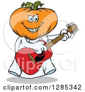 Clipart Of A Cartoon Jackolantern Ghost Playing An Acoustic Guitar Royalty Free Vector Illustration by Dennis Holmes Designs