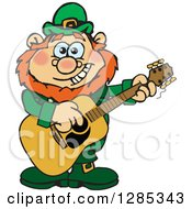 Clipart Of A Cartoon Happy St Patricks Day Leprechaun Playing An Acoustic Guitar Royalty Free Vector Illustration