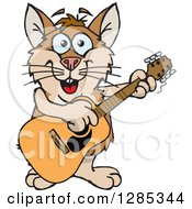 Clipart Of A Cartoon Happy Hamster Playing An Acoustic Guitar Royalty Free Vector Illustration by Dennis Holmes Designs