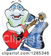 Cartoon Happy Guppy Fish Playing An Acoustic Guitar
