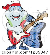 Clipart Of A Cartoon Happy Guppy Fish Playing An Electric Guitar Royalty Free Vector Illustration by Dennis Holmes Designs
