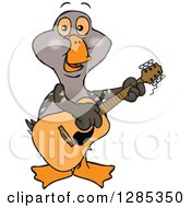 Clipart Of A Cartoon Happy Goose Playing An Acoustic Guitar Royalty Free Vector Illustration by Dennis Holmes Designs