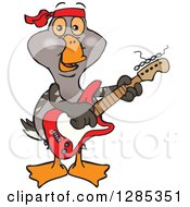 Clipart Of A Cartoon Happy Goose Playing An Electric Guitar Royalty Free Vector Illustration by Dennis Holmes Designs