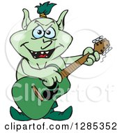 Cartoon Goblin Playing An Acoustic Guitar