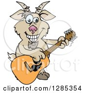 Clipart Of A Cartoon Happy Goat Playing An Acoustic Guitar Royalty Free Vector Illustration