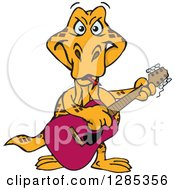 Clipart Of A Cartoon Happy Goanna Lizard Playing An Acoustic Guitar Royalty Free Vector Illustration by Dennis Holmes Designs